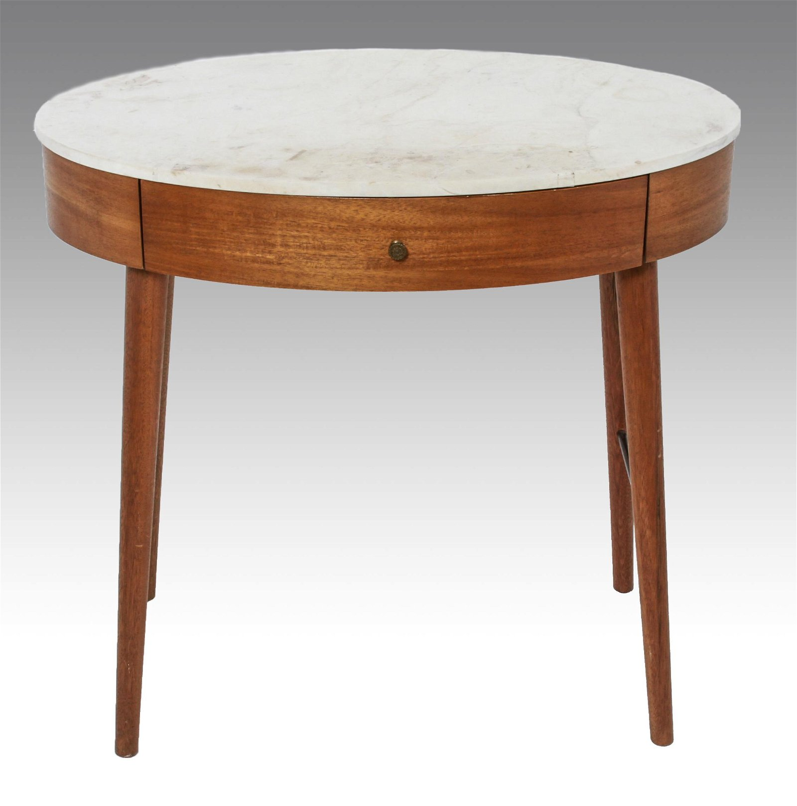 Modern Oval Marble Top Single Drawer Side Table