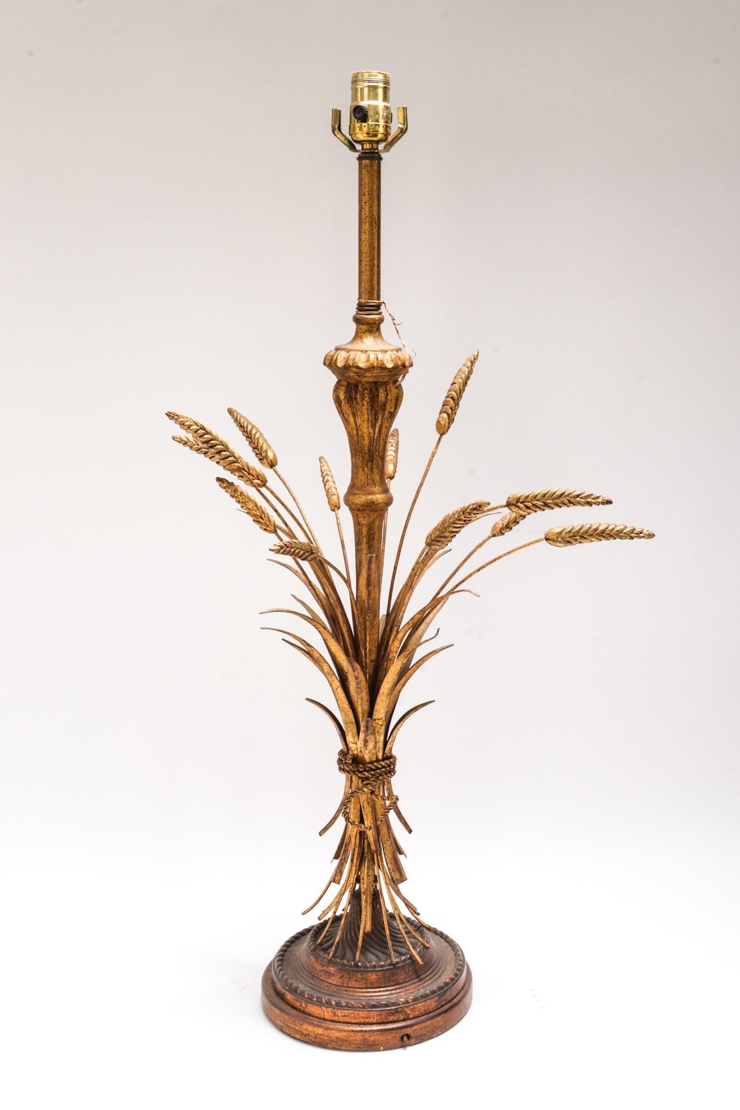 Modern Gilt Metal & Wood Wheat Sheaf Table Lamp
