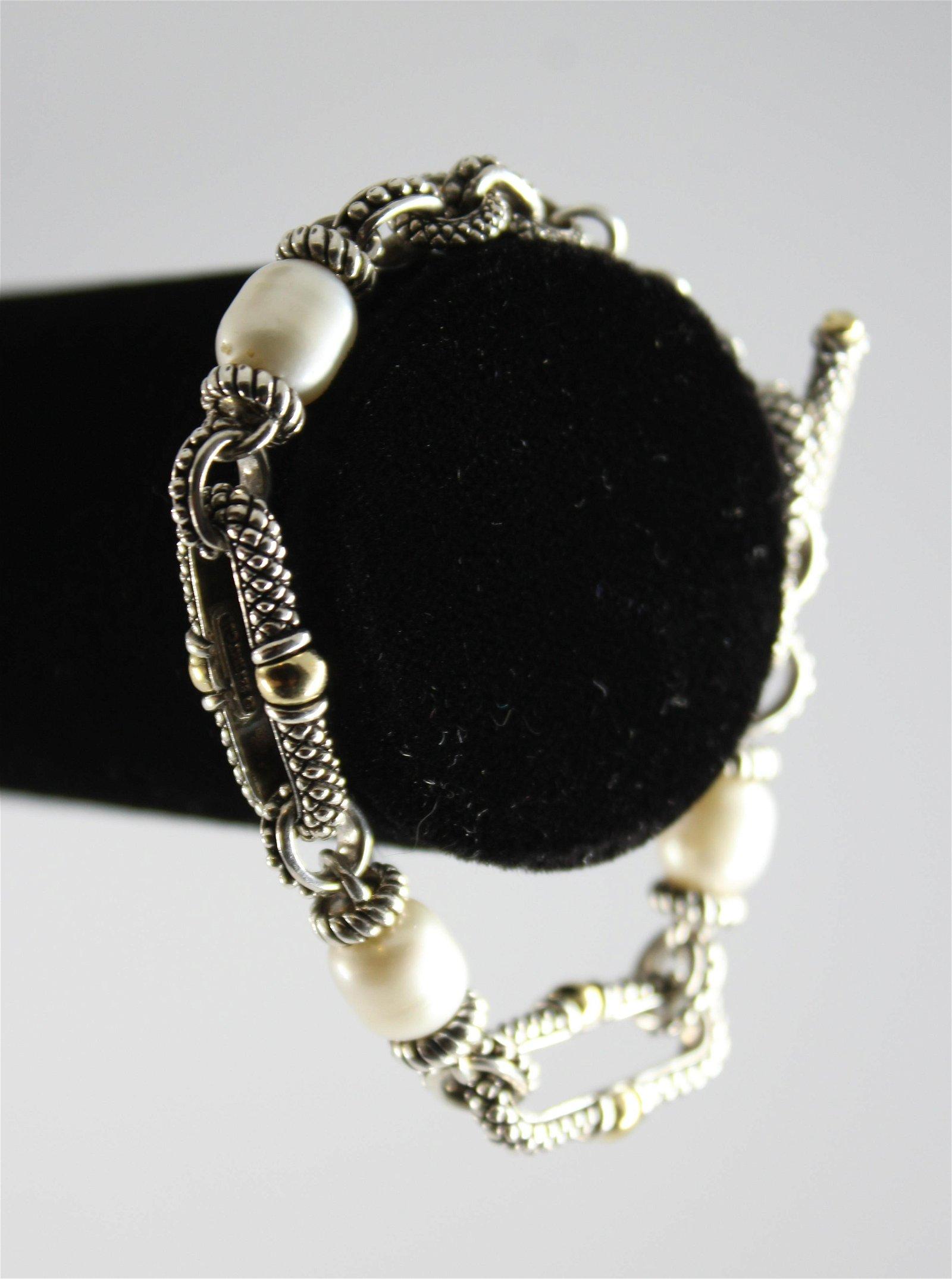 Andrea Candela Silver, Gold, & Pearl Bracelet