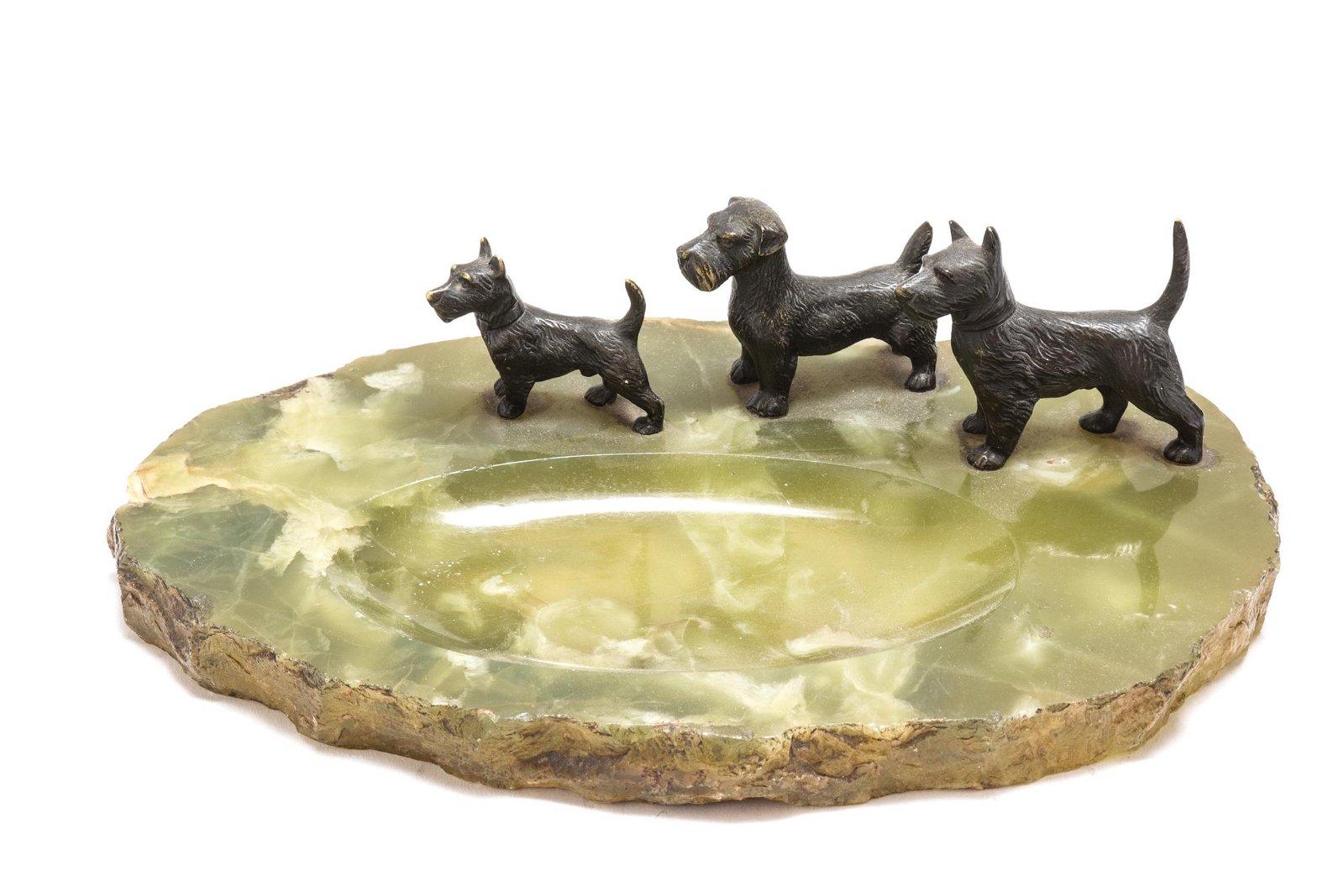 Modern Desk Tray w Bronze Dogs & Onyx Base