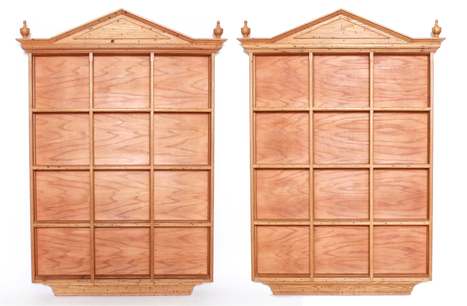 Oak Architectural Open Wall Display Units, Pair