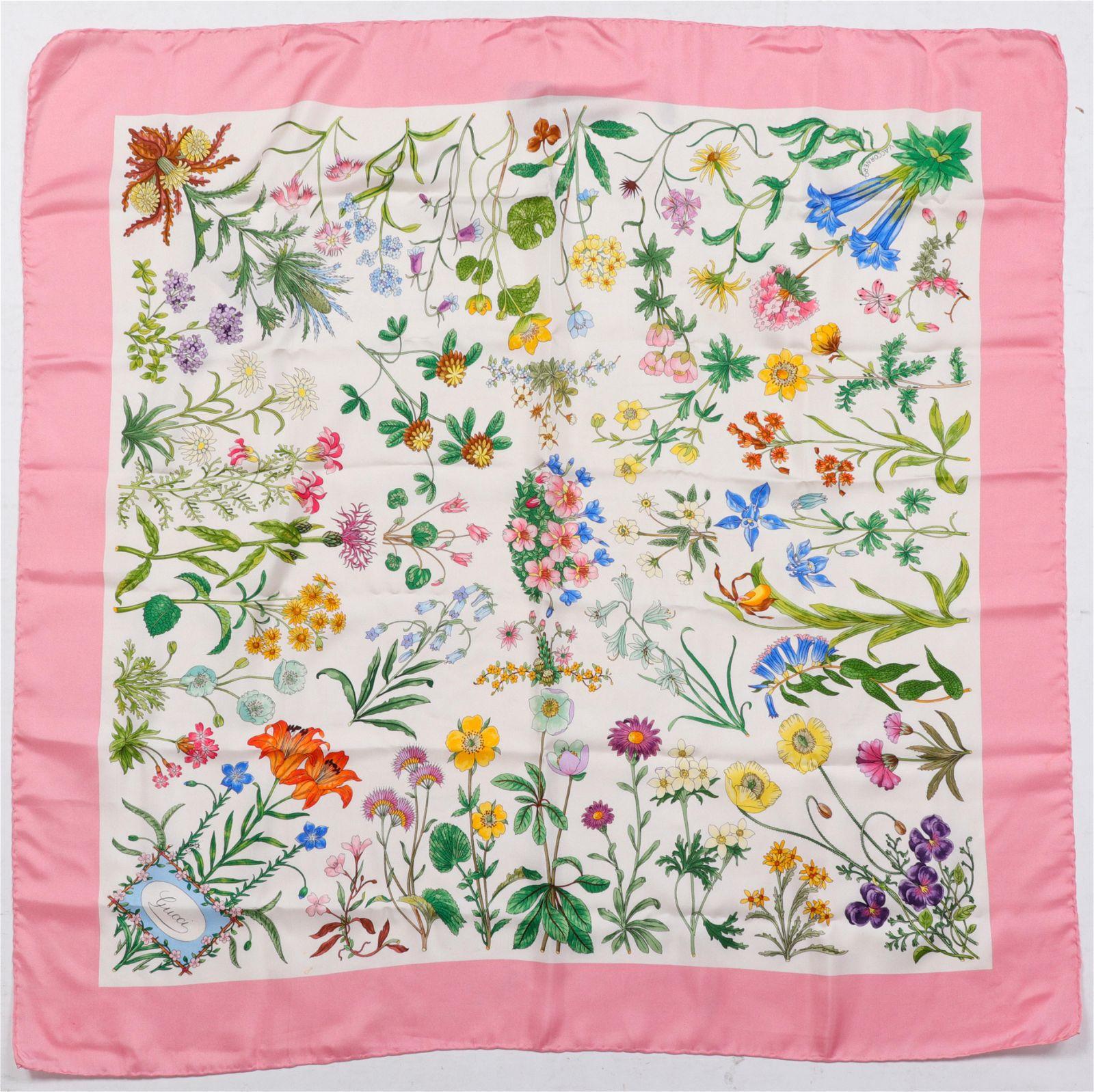 Gucci Floral Motif Silk Scarf