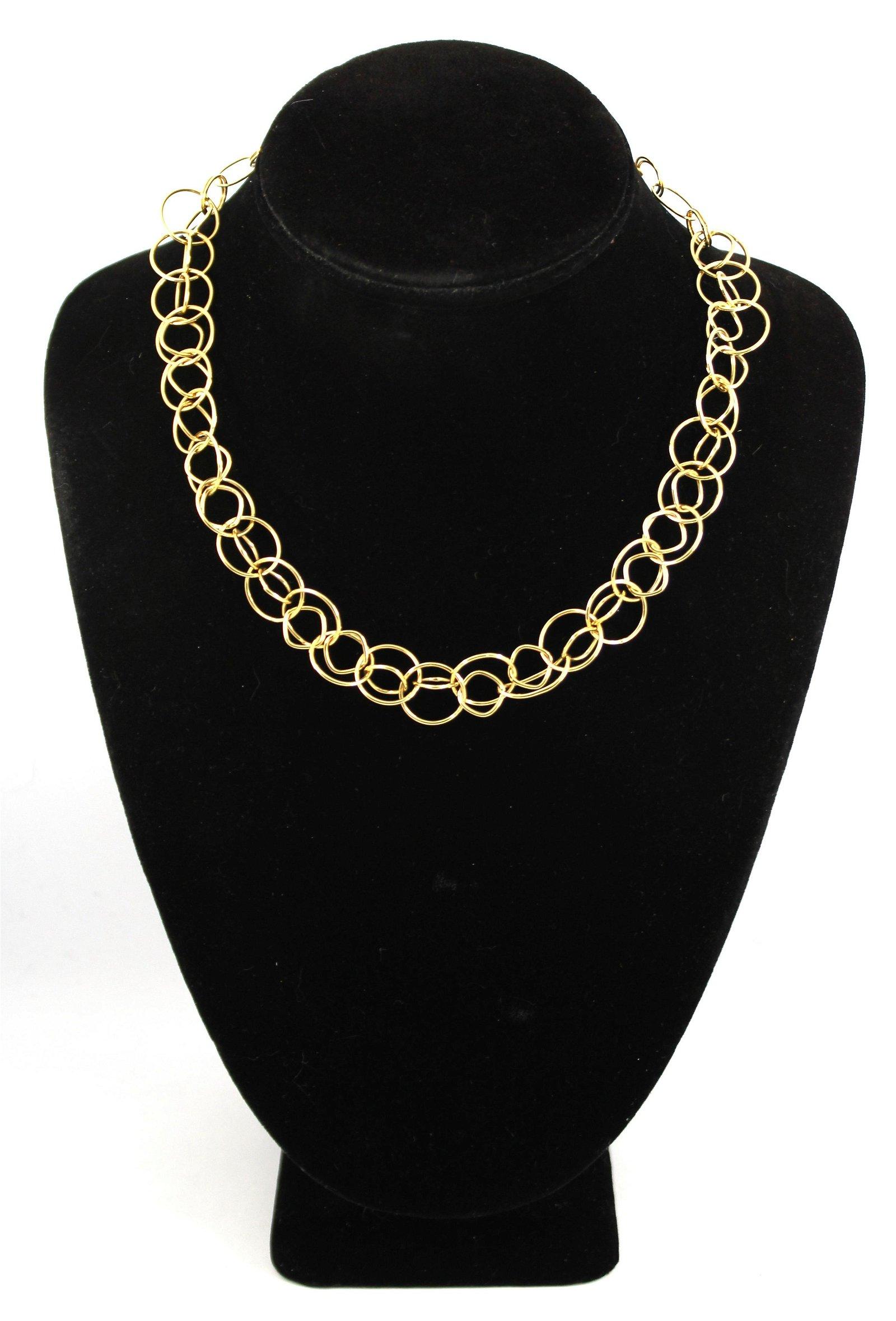 Italian 14K Yellow Gold Double Link Chain Choker