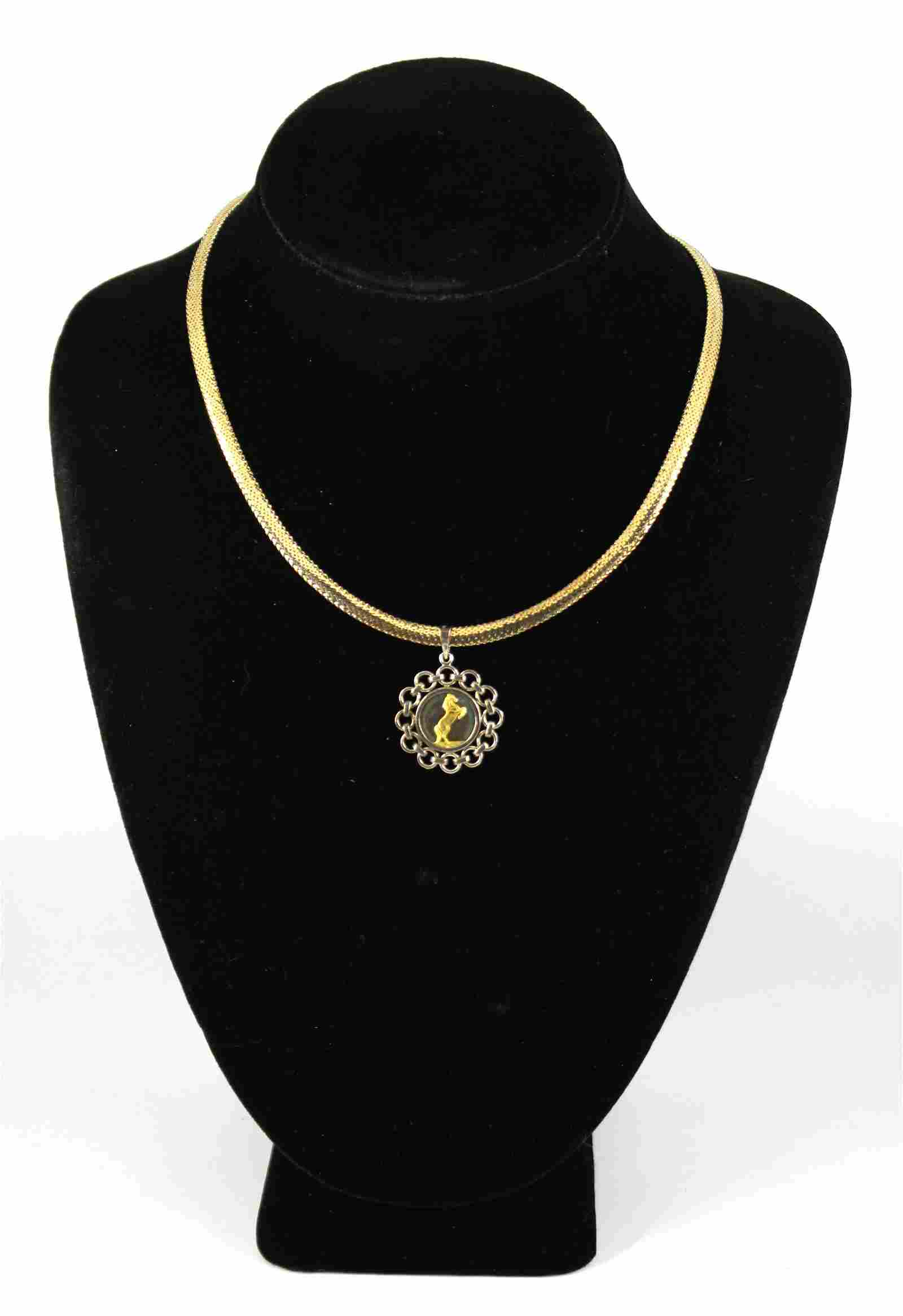 14K Yellow & White Gold Necklace w Horse Pendant