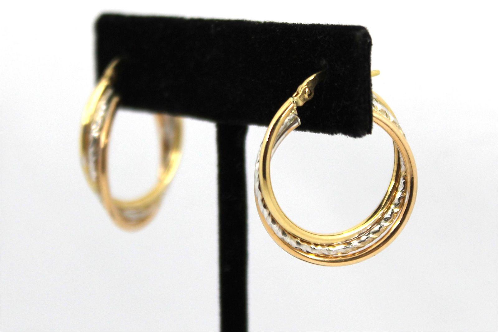 Italian 14K Yellow & White Gold Hoop Earrings