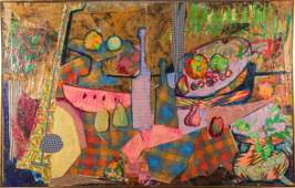 """Valencia"" Cubist Sill Life Mixed Media Collage"