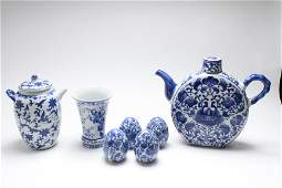 Chinese Blue  White Porcelain Items Group of 7