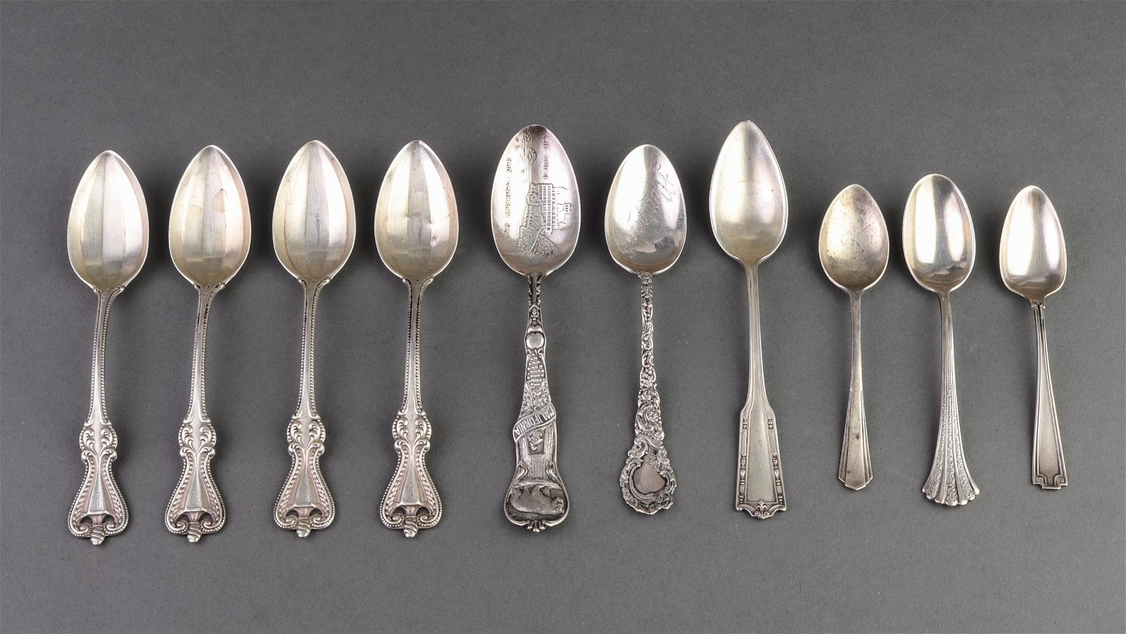 Antique Sterling Silver Teaspoons,10