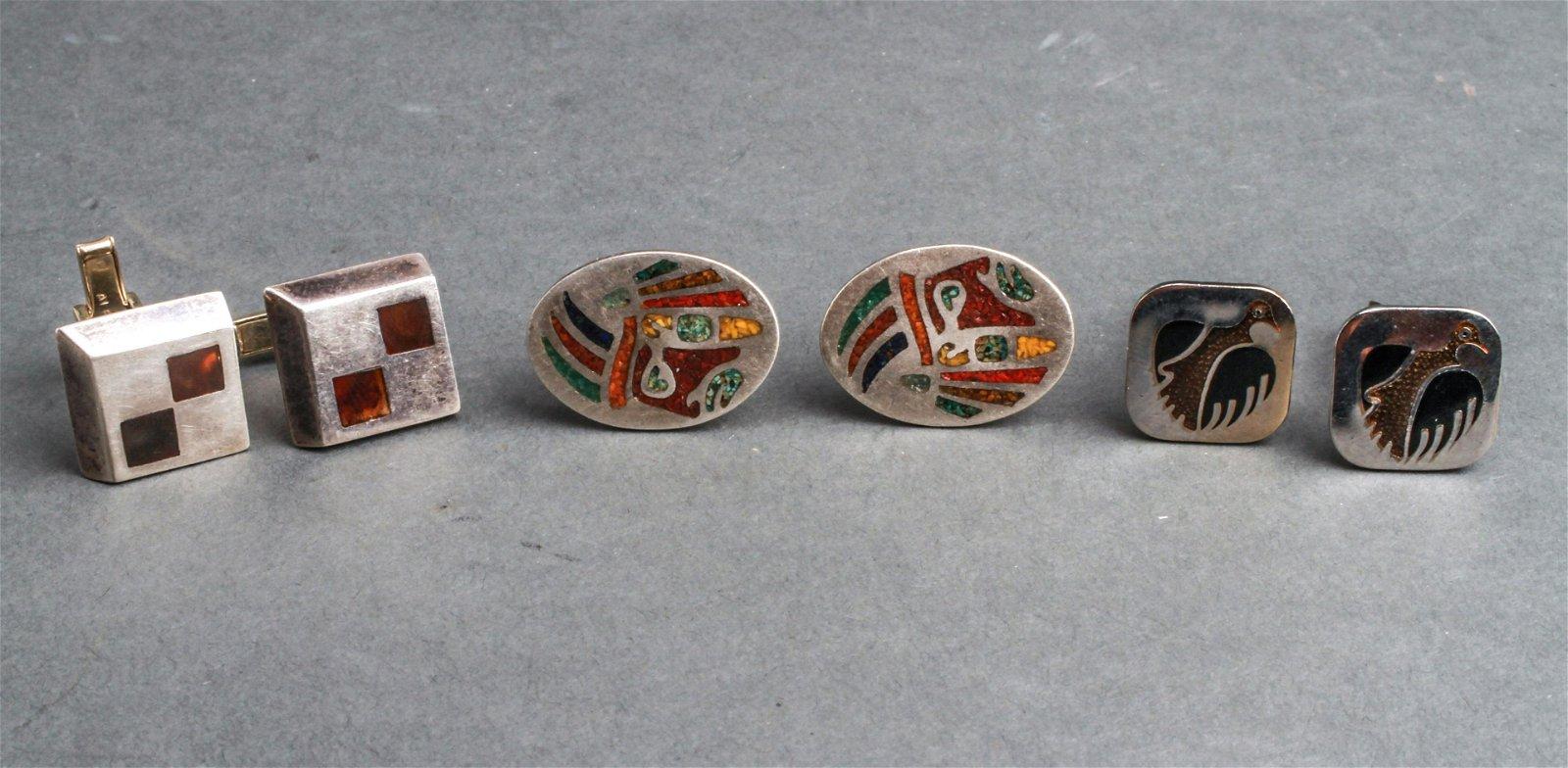 Silver & Silver-Tone Cufflinks w Inlaid Stone 3 Pr