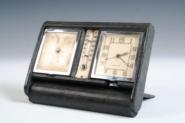 11: Le Coultre Art Deco 1930 Travel Clock Barometer