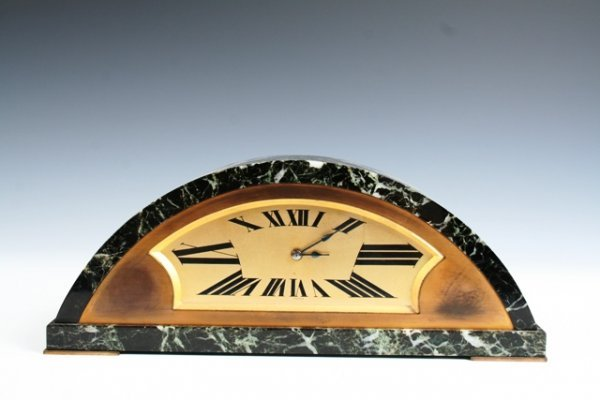 14: French Marble Art Deco Mantle Clock Circa 1930