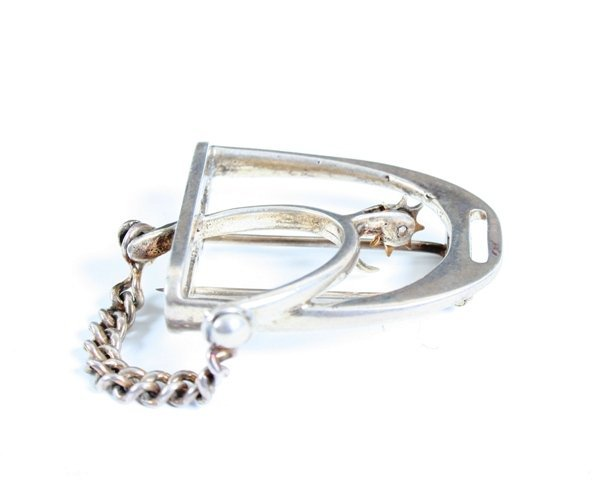 15: Hermes Horse Spur Sterling Silver Sweater Pin