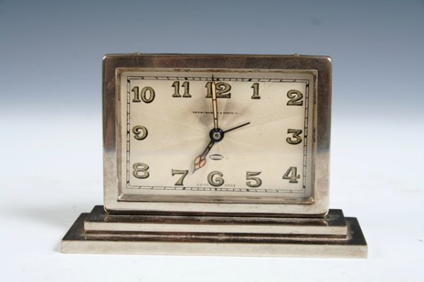 24: Abercrombie & Fitch Silverplate Mantle Clock