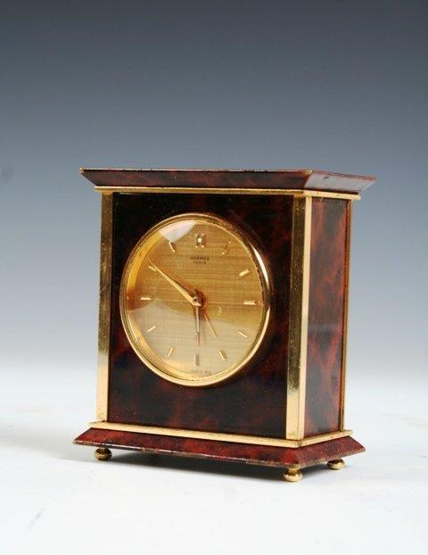 25: Hermes Paris Brass Tortoise Shell Desk Clock