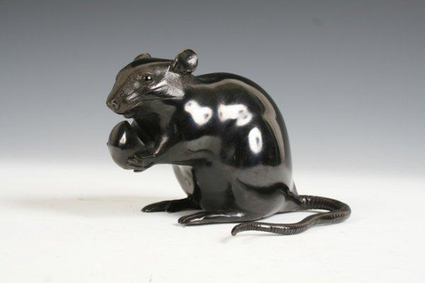 38: Japanese Bronze Figure of a Rat Circa 1950