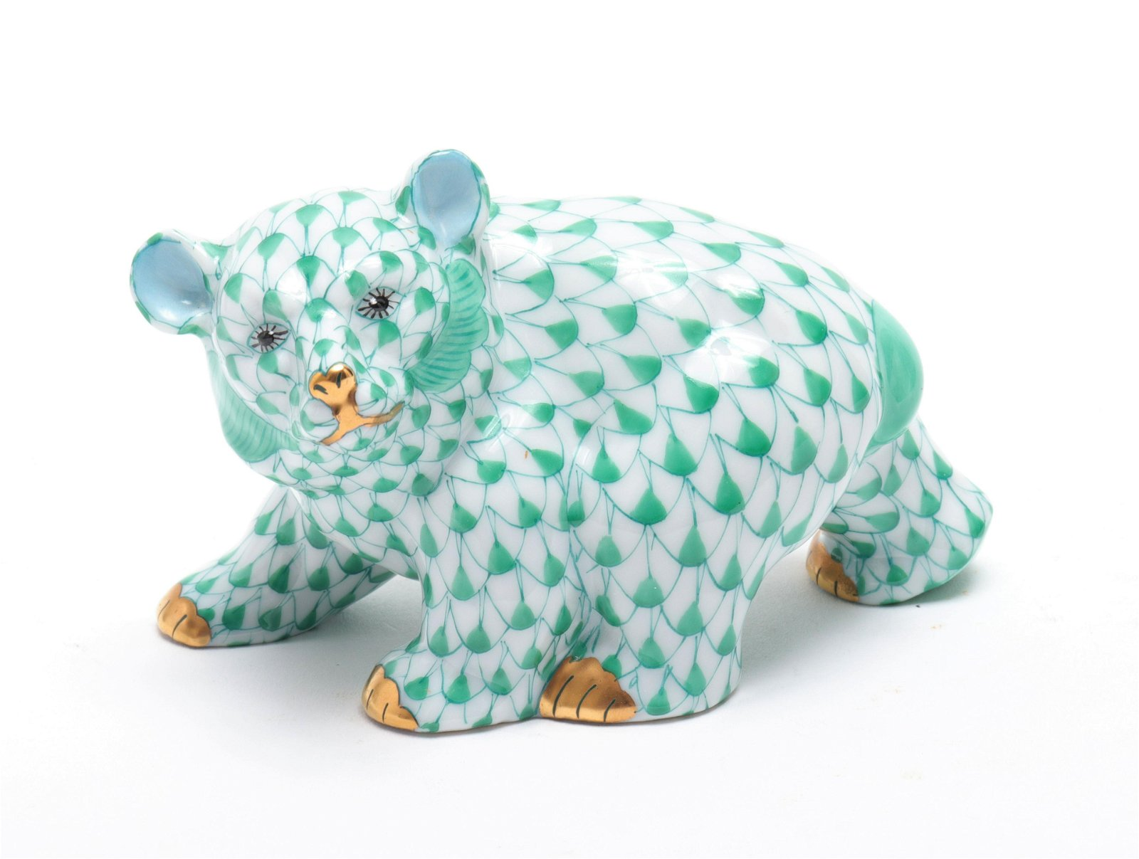 "Herend ""Bear"" Fishnet Porcelain Figure"