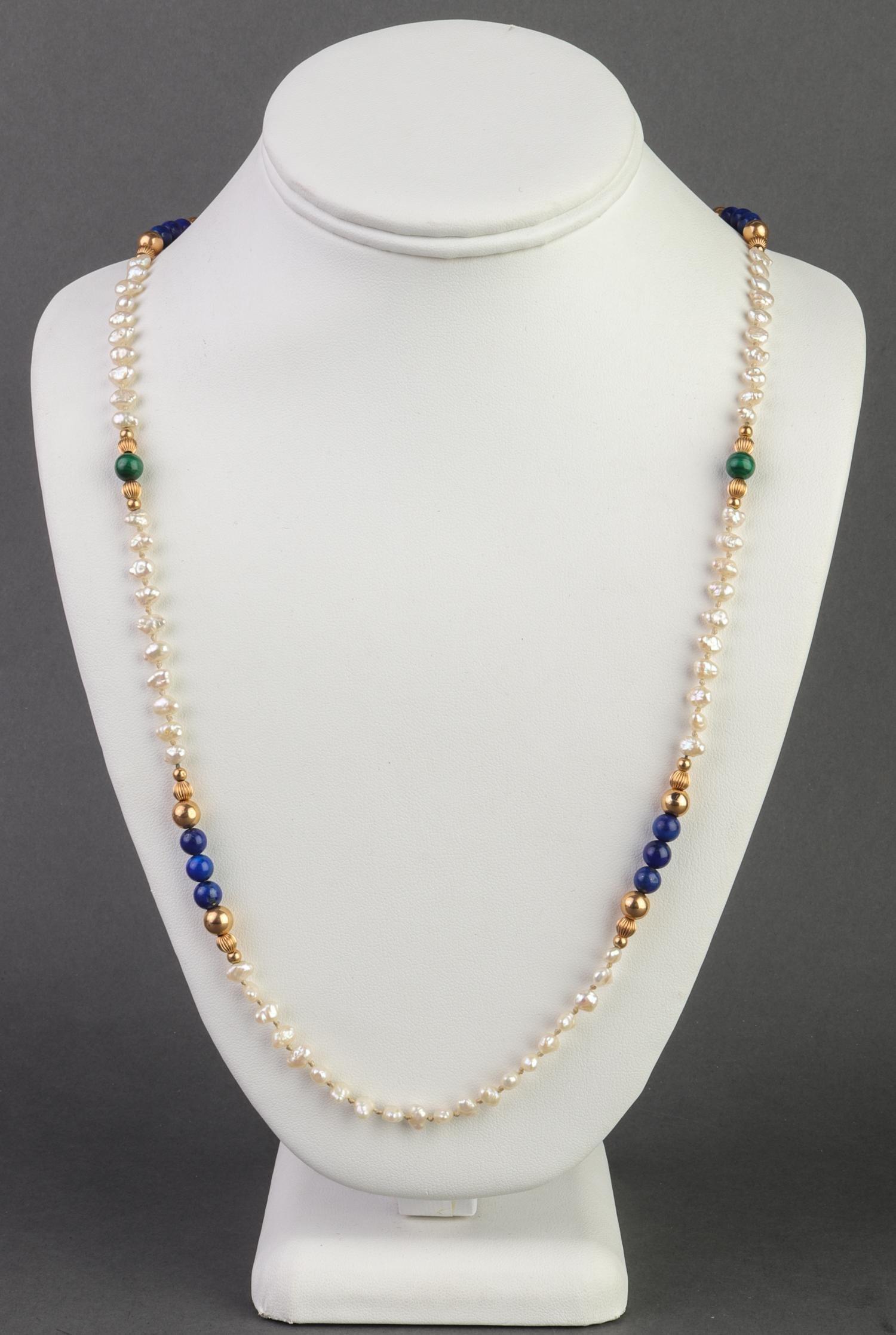 14K Yellow Gold Pearl Lapis & Malachite Necklace