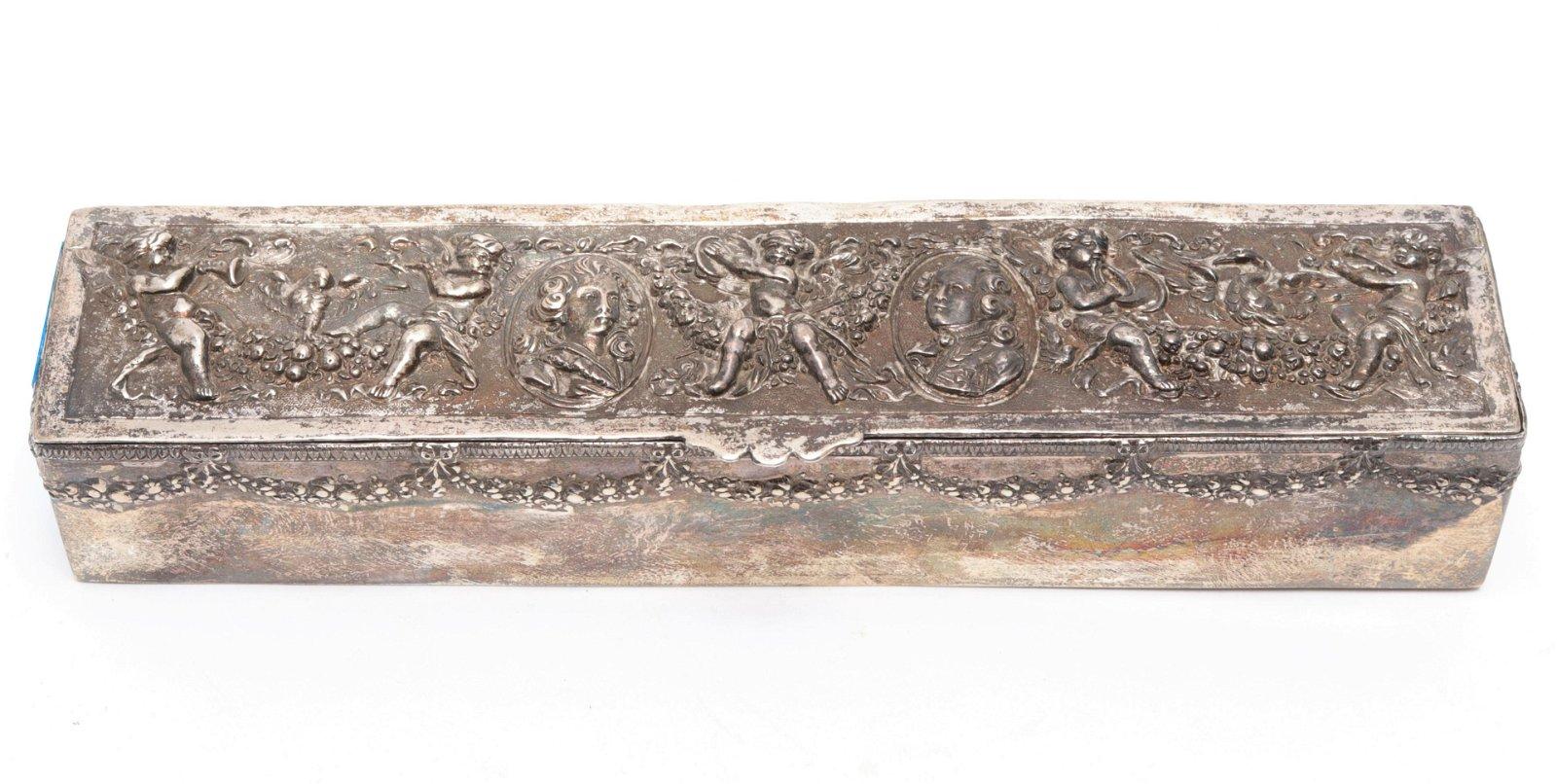 Rococo Style Silver Pen Box w Portraits & Cherubs