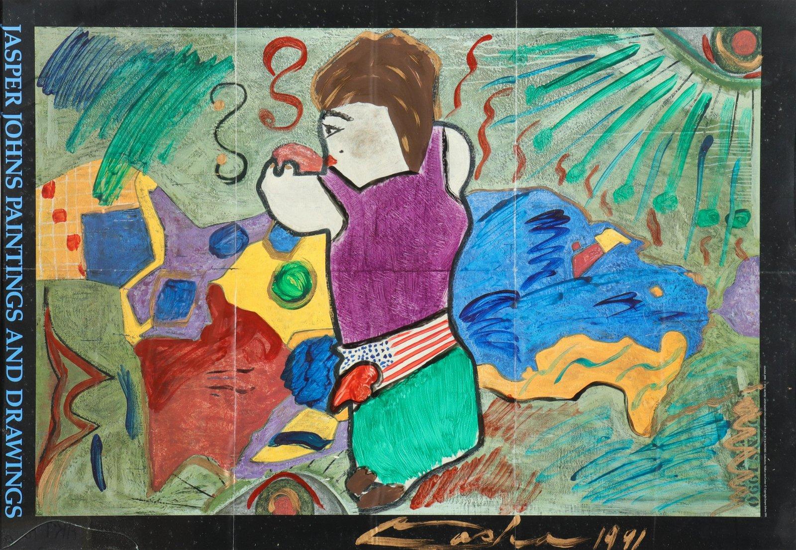 "Jasper Johns ""Paintings & Drawings"" Signed Poster"