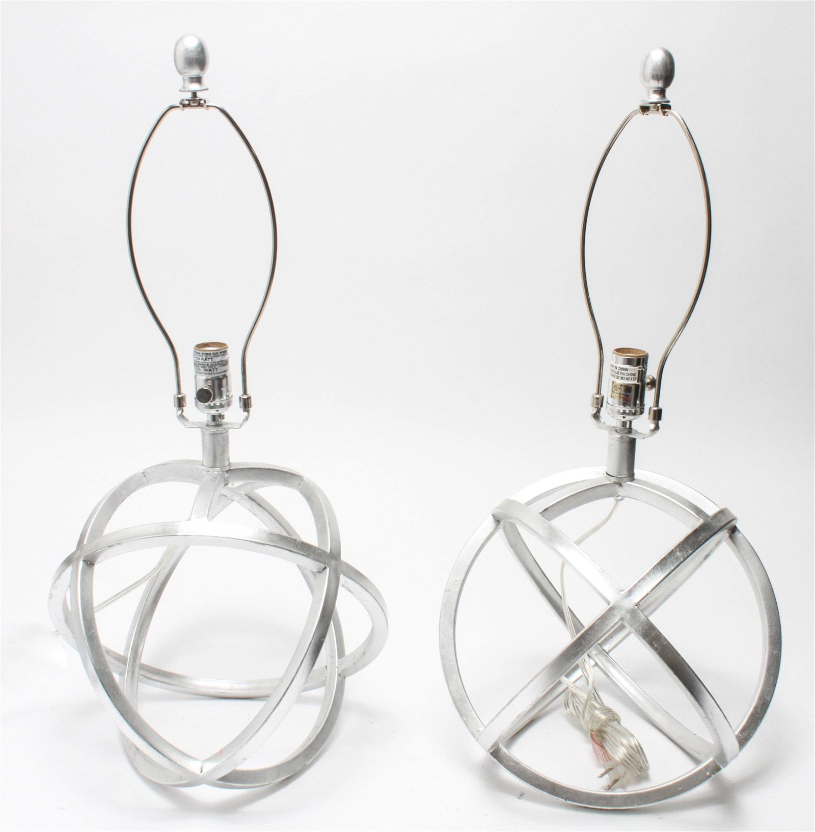 Modern Metal Orb Table Lamps, Pair