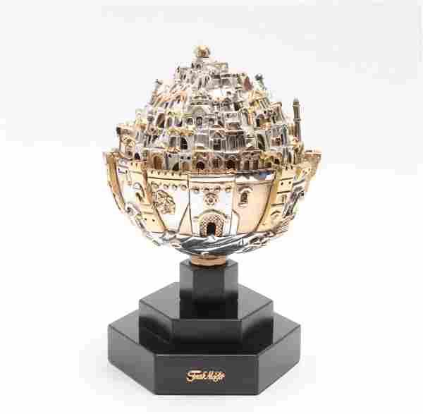 "Frank Meisler Judaica ""Jerusalem Sphere"" Sculpture"
