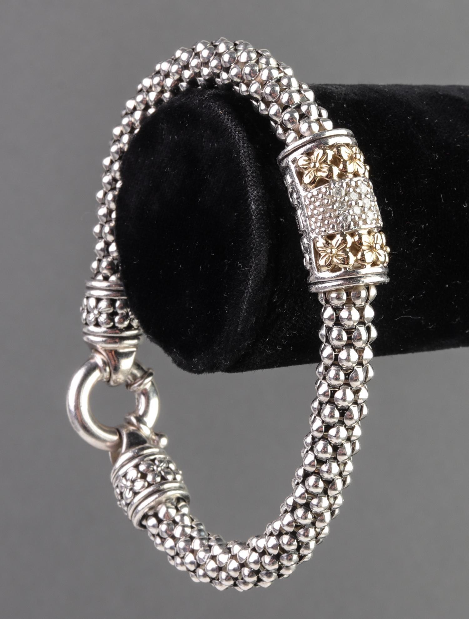 14K Yellow Gold Diamond & Silver Pendant Bracelet