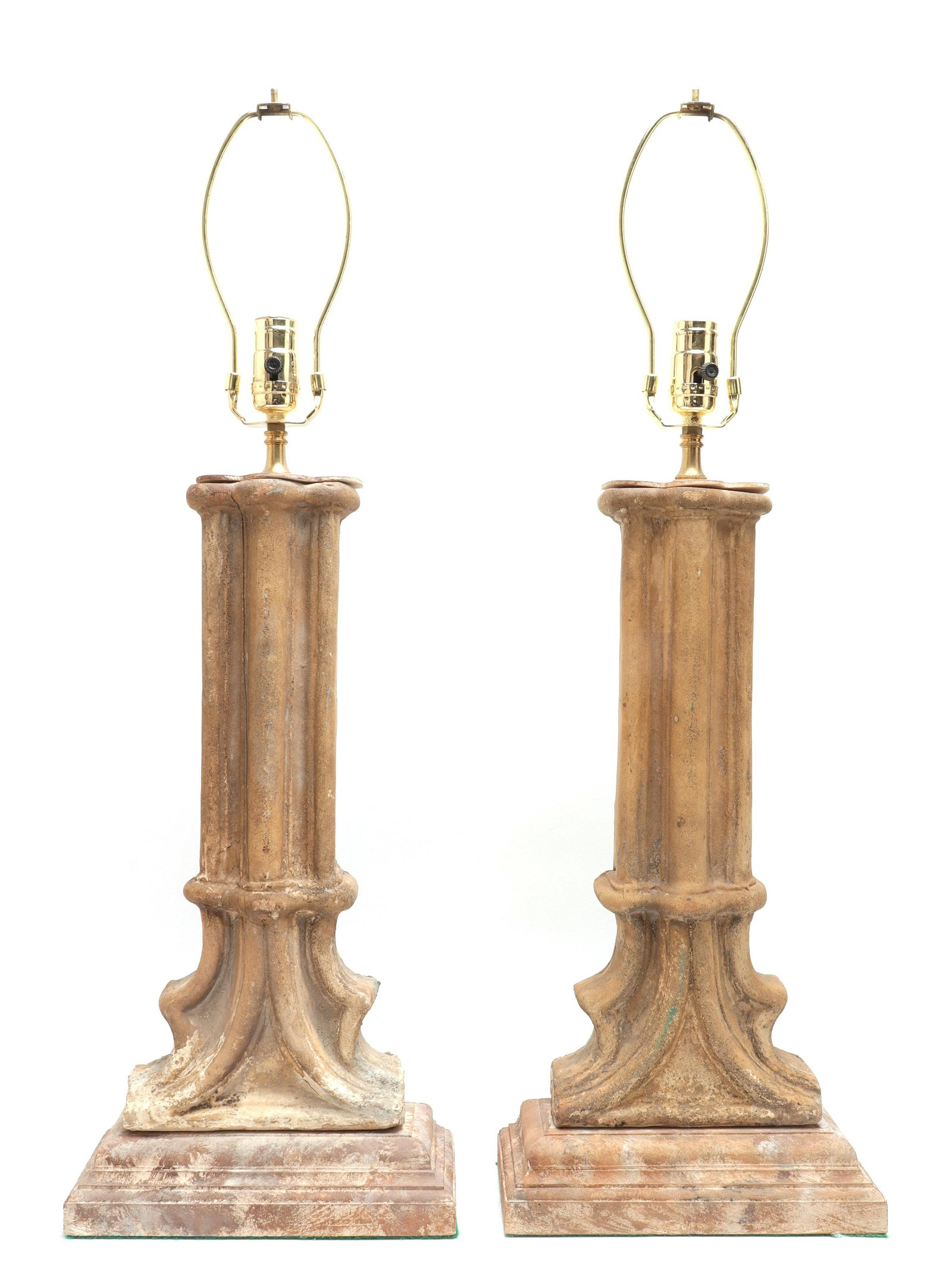 Carved Wood Columnar Table Lamps, Pair