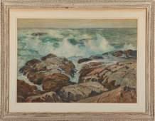"""Alexander Bower """"Rocky Coastline"""" Watercolor"""