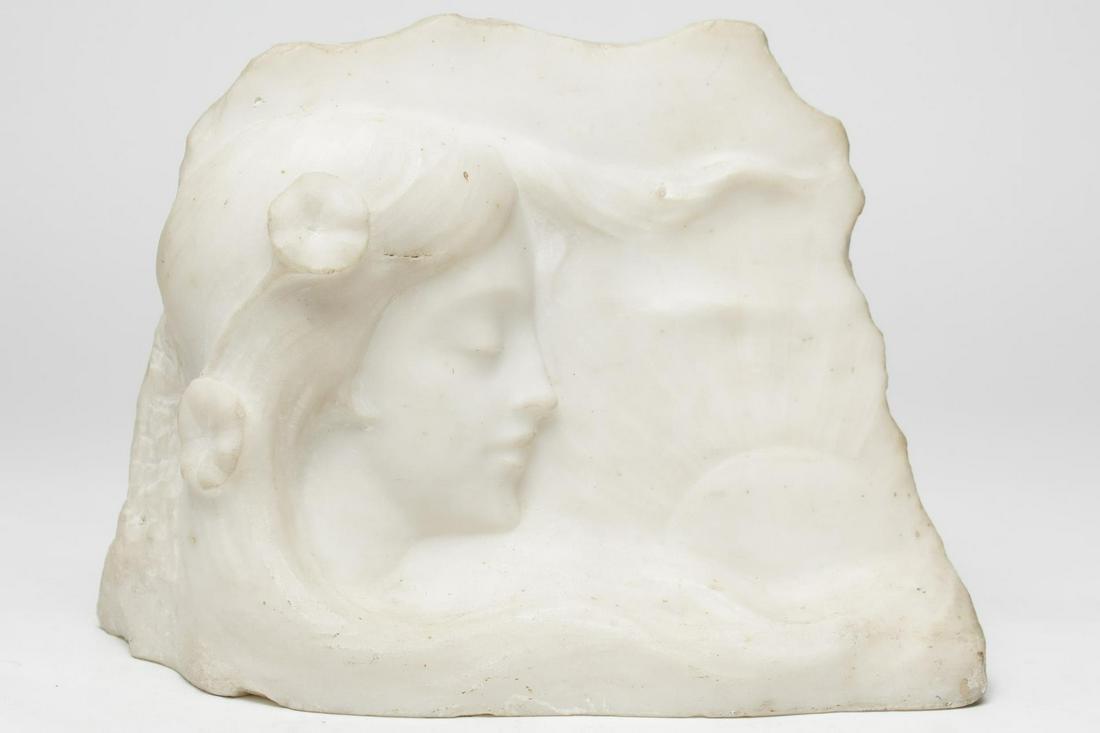Art Nouveau Marble Relief Sculpture of Woman