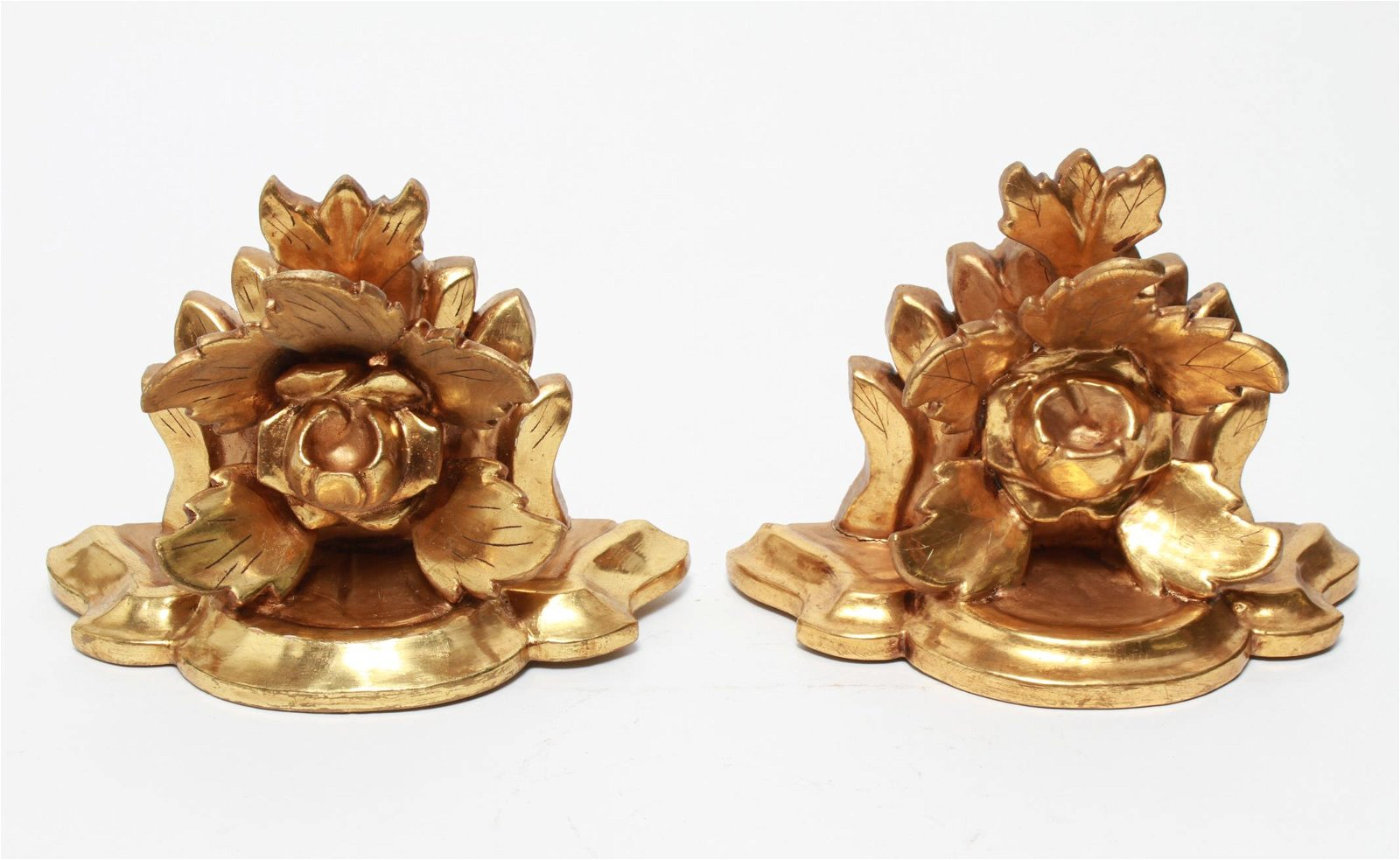 Italian Rococo Manner Giltwood Wall Brackets, Pair