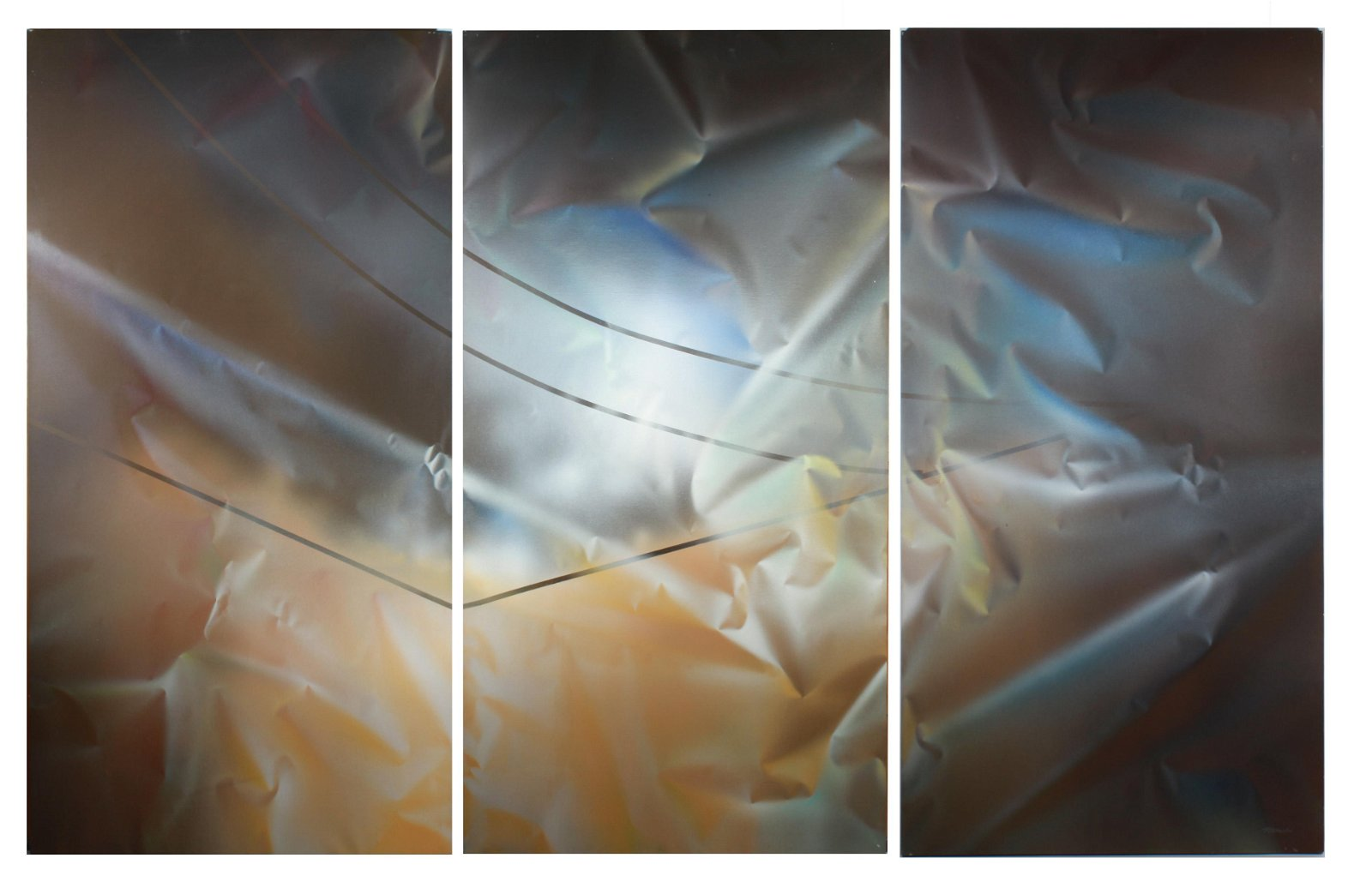 """Peter Mackie """"Gate"""" Acrylic on Canvas Triptych"""