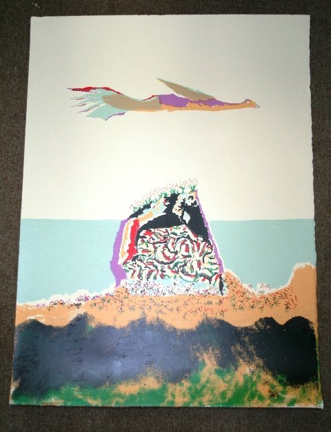 1012: Benny Andrews Signed Lithograph 1980