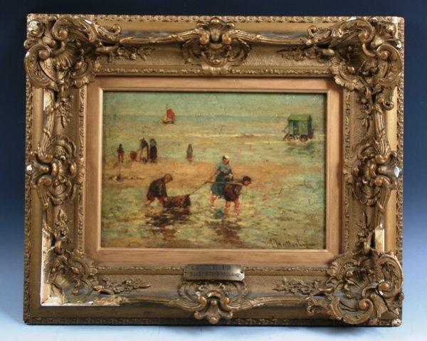 "1057: Louise Stutterheim ""Beach Scene, Holland"" O/B"