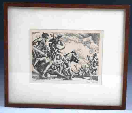 1075: Paul Cadmus Original Signed Etching Polo Spill