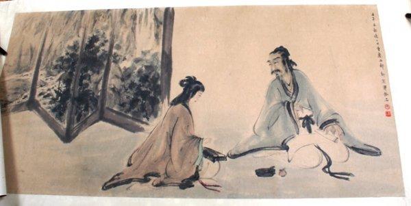 1111: Chinese Scroll by Fu Baoshi: Guzhing Playing