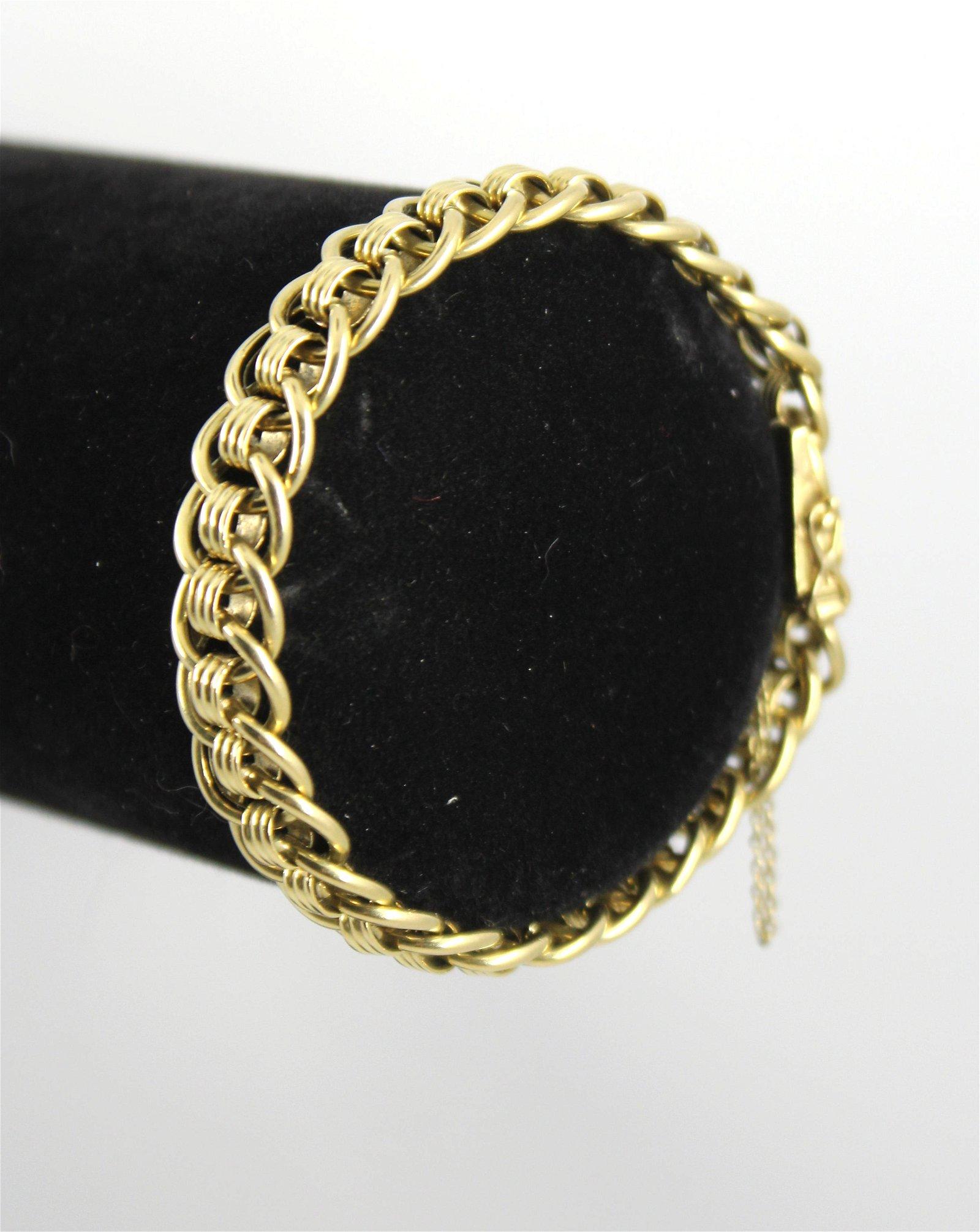 Mid-Century Modern 14K Gold Round Link Bracelet