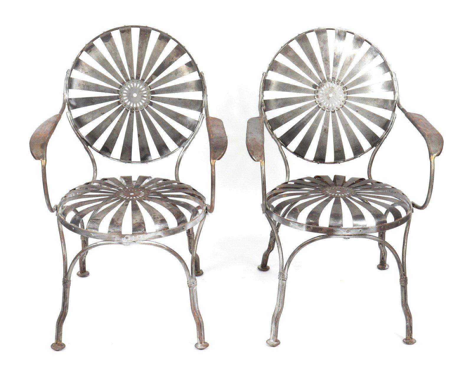 """Francois Carre Steel """"Sunburst"""" Arm Chairs, Pair"""