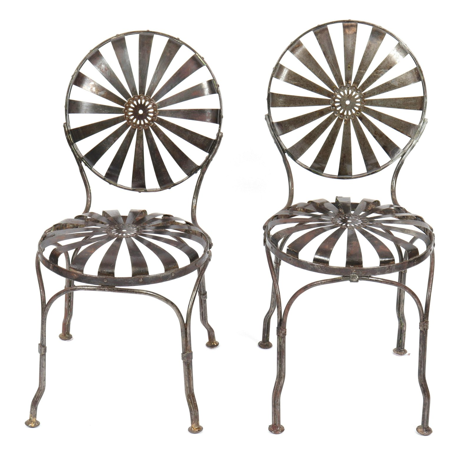 "Francois Carre Steel ""Sunburst"" Side Chairs, Pair"
