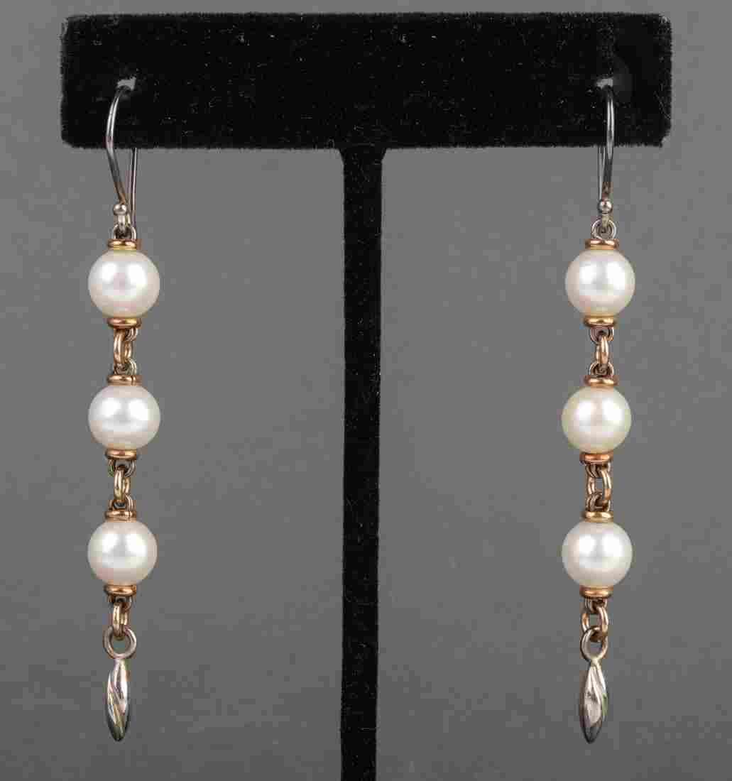 Michael Dawkins 14K Gold, Silver & Pearl Earrings