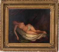 """""""Reclining Nude"""" Continental Oil on Board"""