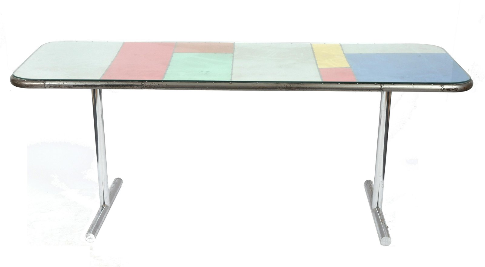 Industrial Modern Console Table w Color Block Top