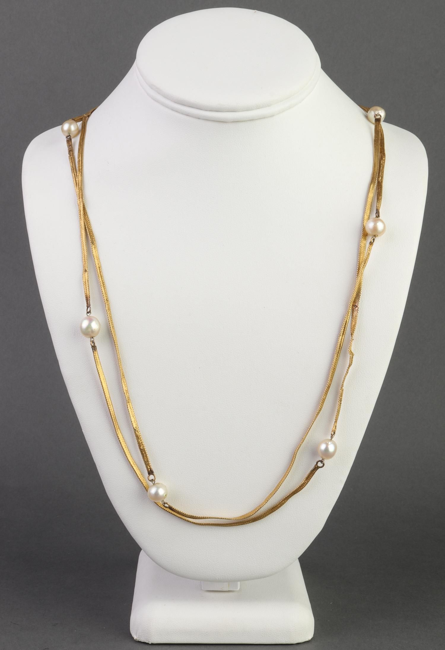 Vintage 14K Yellow Gold Oval Pearl Fob Necklace