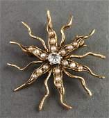 14K Yellow Gold Faux-Diamond & Pearl Floriform Pin
