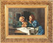 "J. Singer Signed ""Merry Couple"" Oil on Canvas"