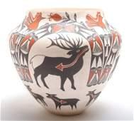 M. Antonio Acoma Pueblo Pottery Animal Motif Olla