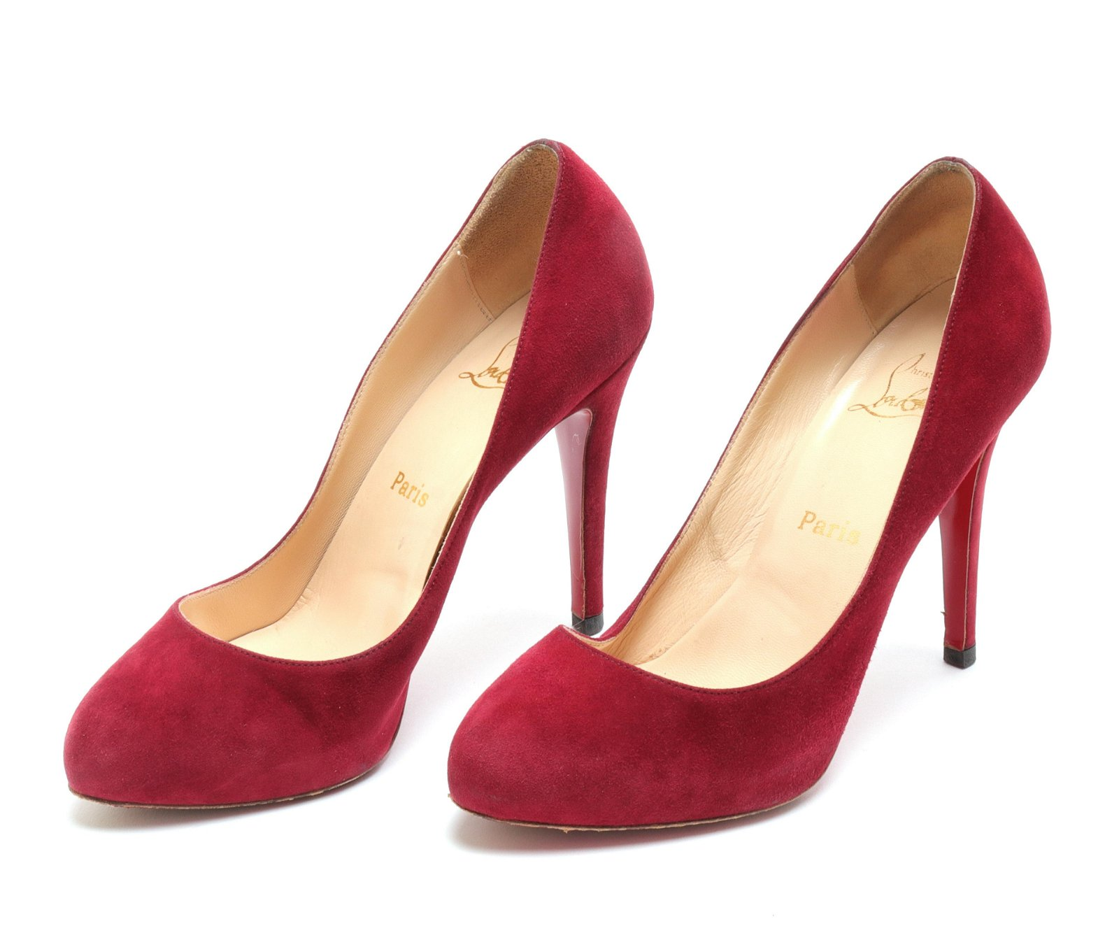 Christian Louboutin Red Suede Pumps, Size 38