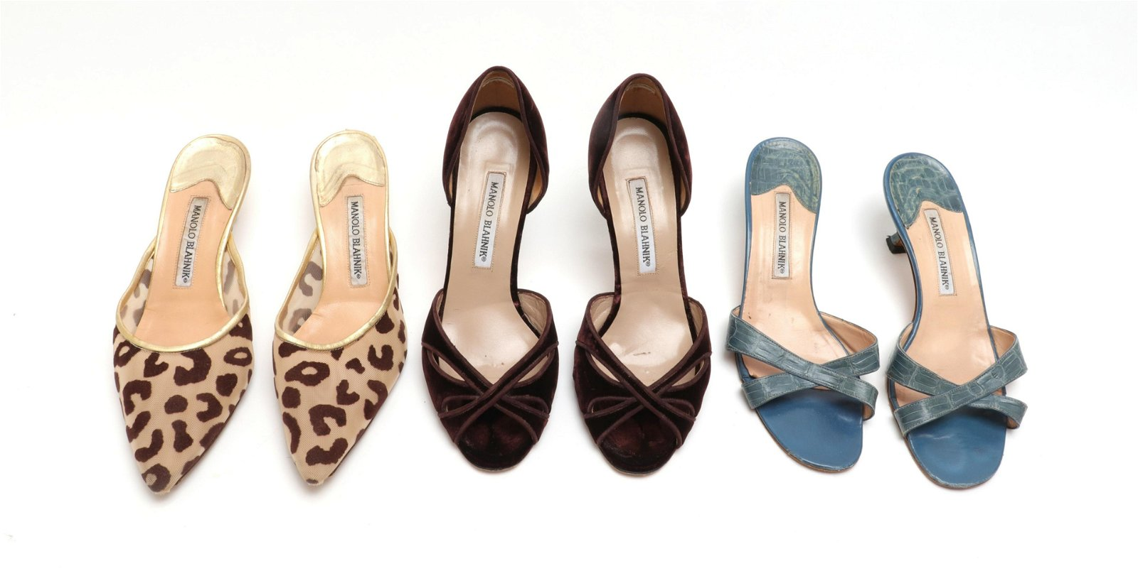 Manolo Blahnik Assorted Shoes, Sizes 37 & 38, 3 Pr