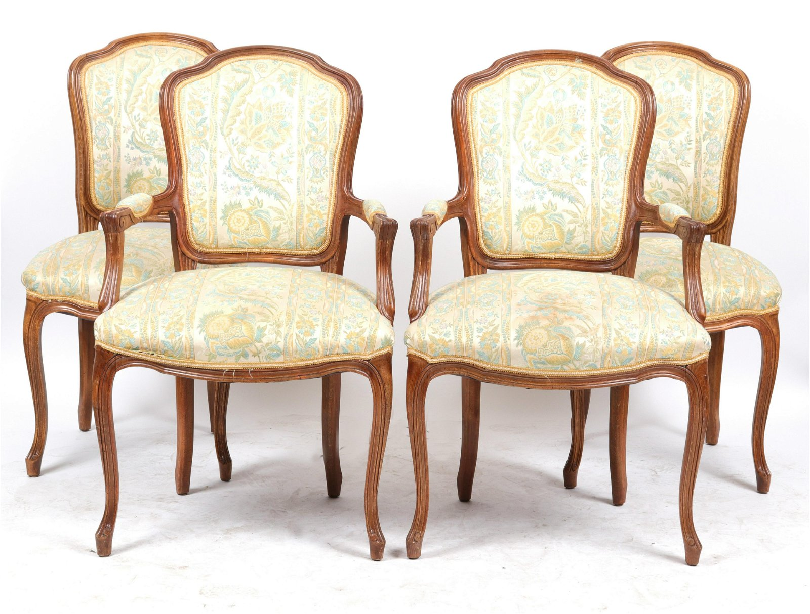 French Louis XV Style Dining Chairs, Set of 4