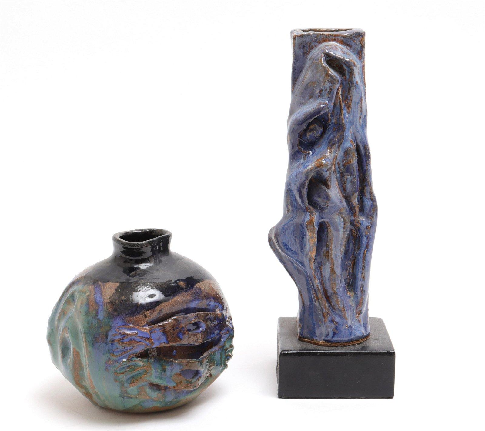 Contemporary Art Pottery Blue Glaze Vases, 2