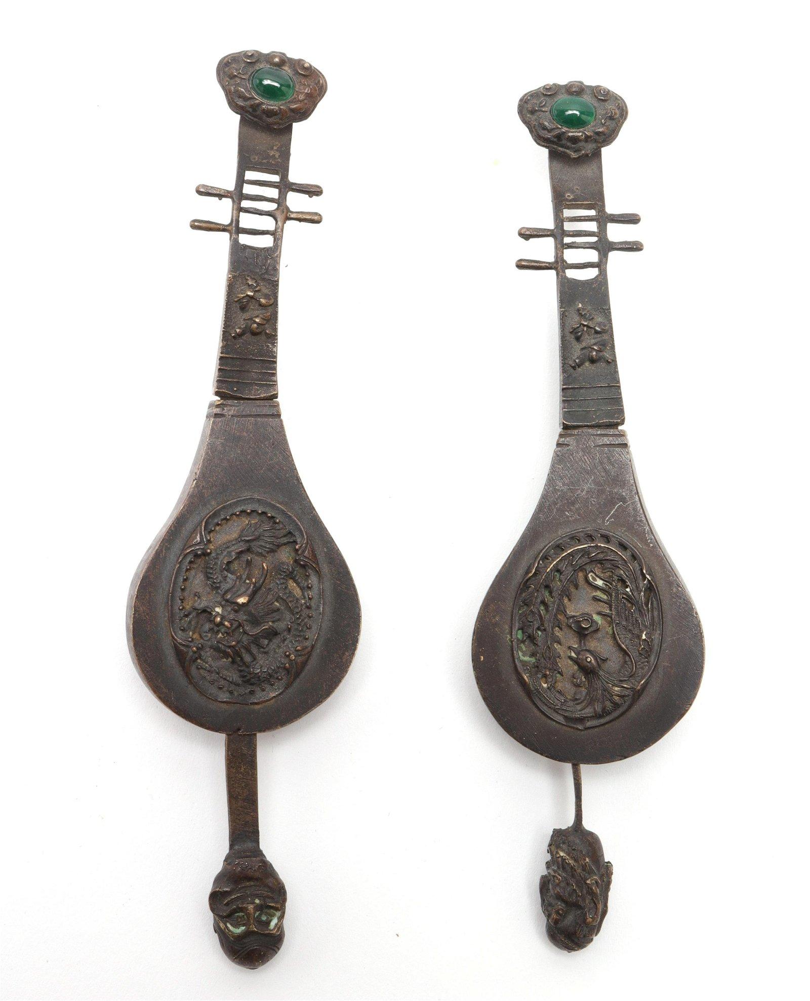 Chinese Bronze & Jadeite Figural Pipa Locks , 2